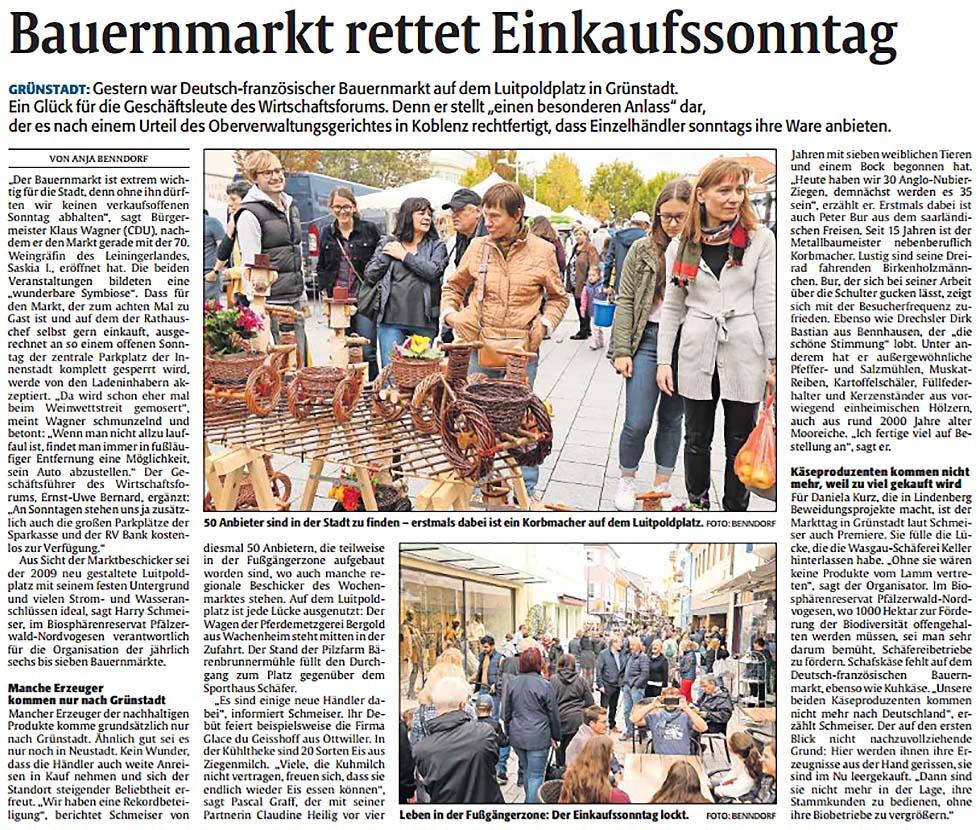 Deutsch-französicher Bauernmarkt Grünstadt 2019