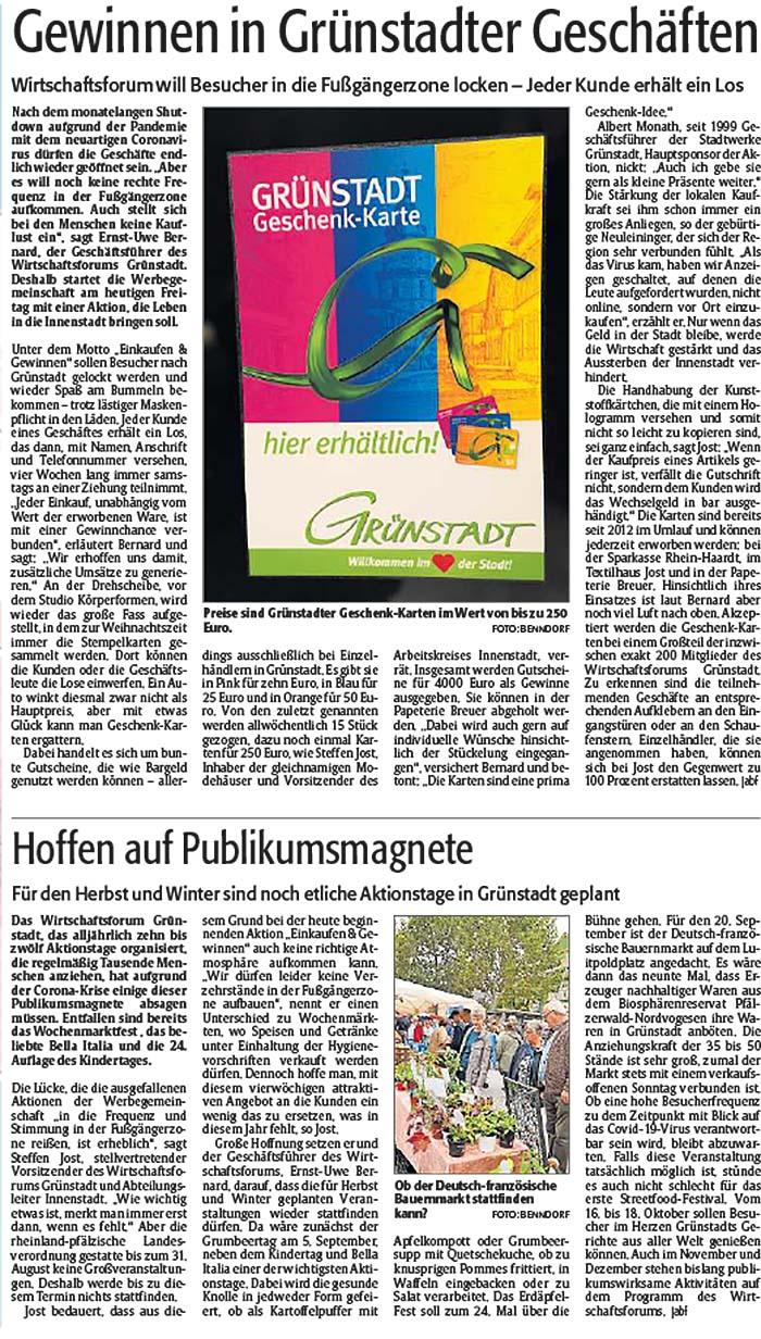 Die Rheinpfalz - Unterhaardter Rundschau -29.05.2020