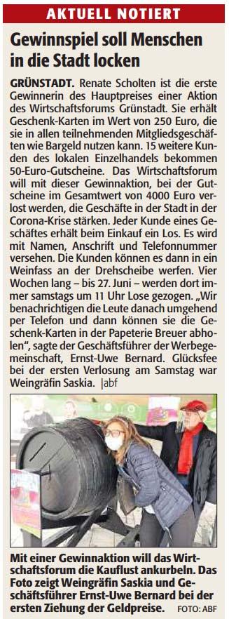 Einkaufen und gewinnen in Grünstadt bis zum 27.06.2020