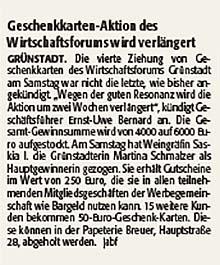 Gewinnaktion des Wirtschaftsforums Grünstadt verlängert bis zum 11.07.2020